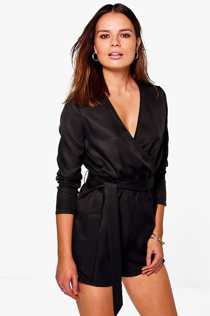 Harriet Wrap Over Belted Woven Playsuit