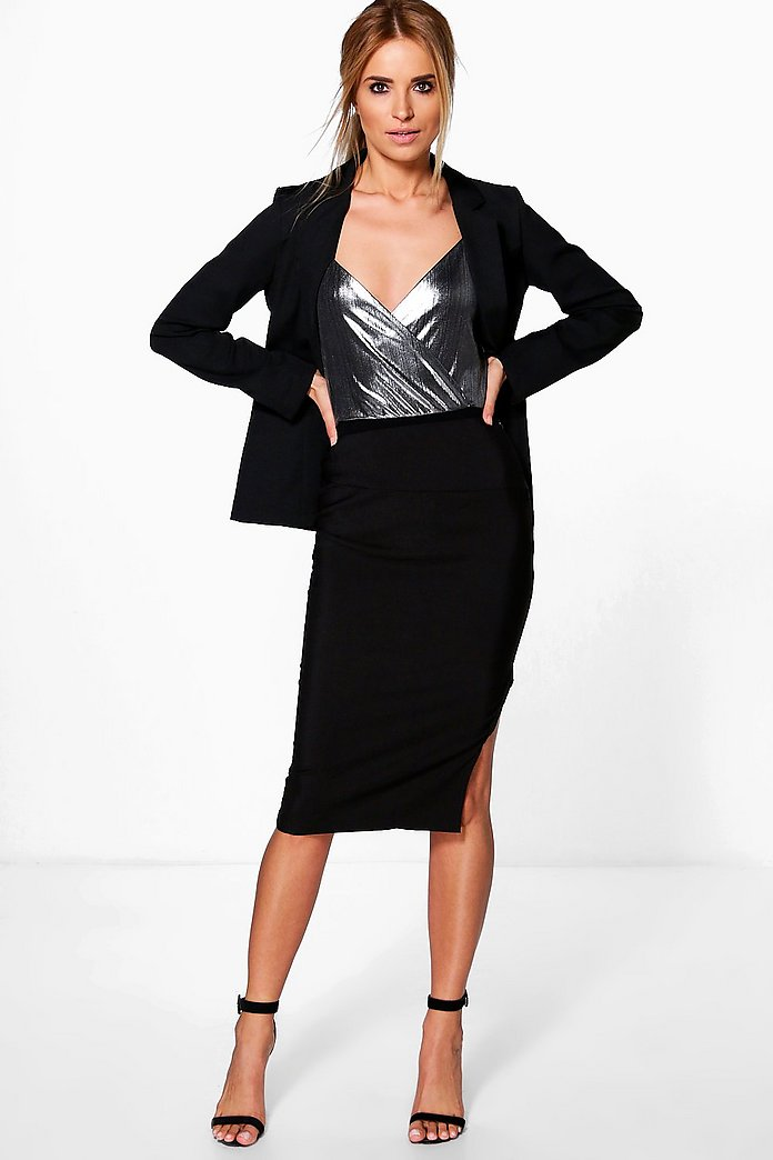 Heidi Woven Pencil Skirt With Split