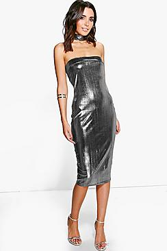 Emmeline Choker Metallic Bandeau Midi Dress