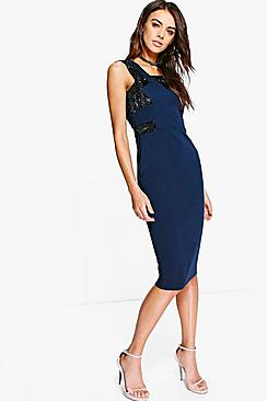 Scarlett Metallic Panel Detail Midi Dress