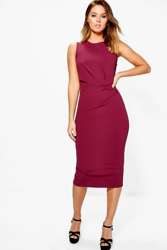 Montana Gather Detail Formal Midi Dress