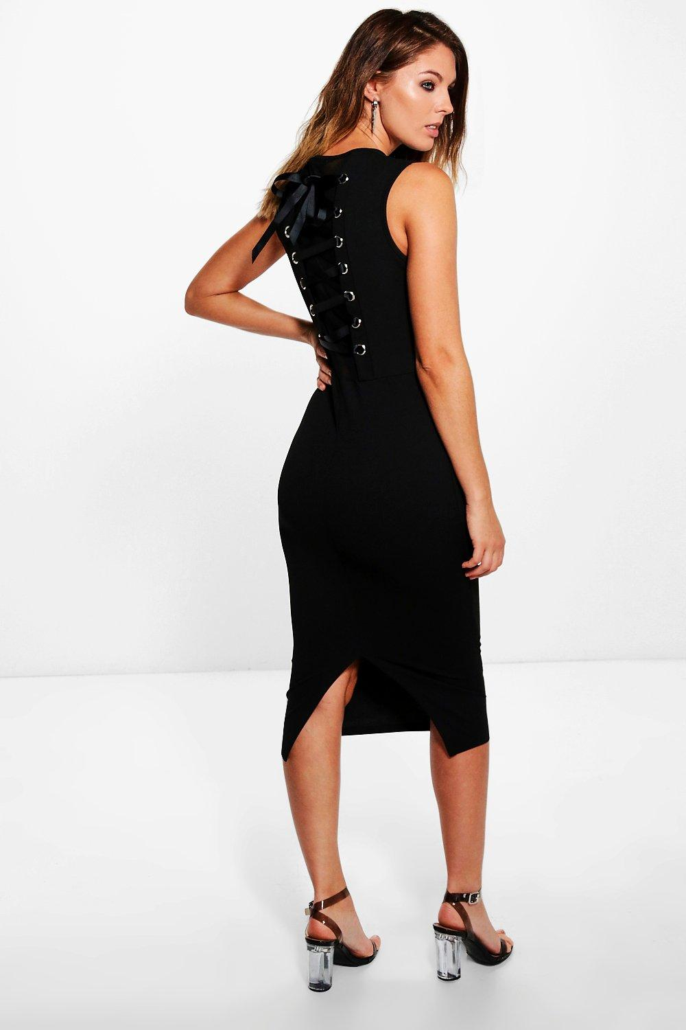 Marlowe Ribbon Lace Back Midi Dress