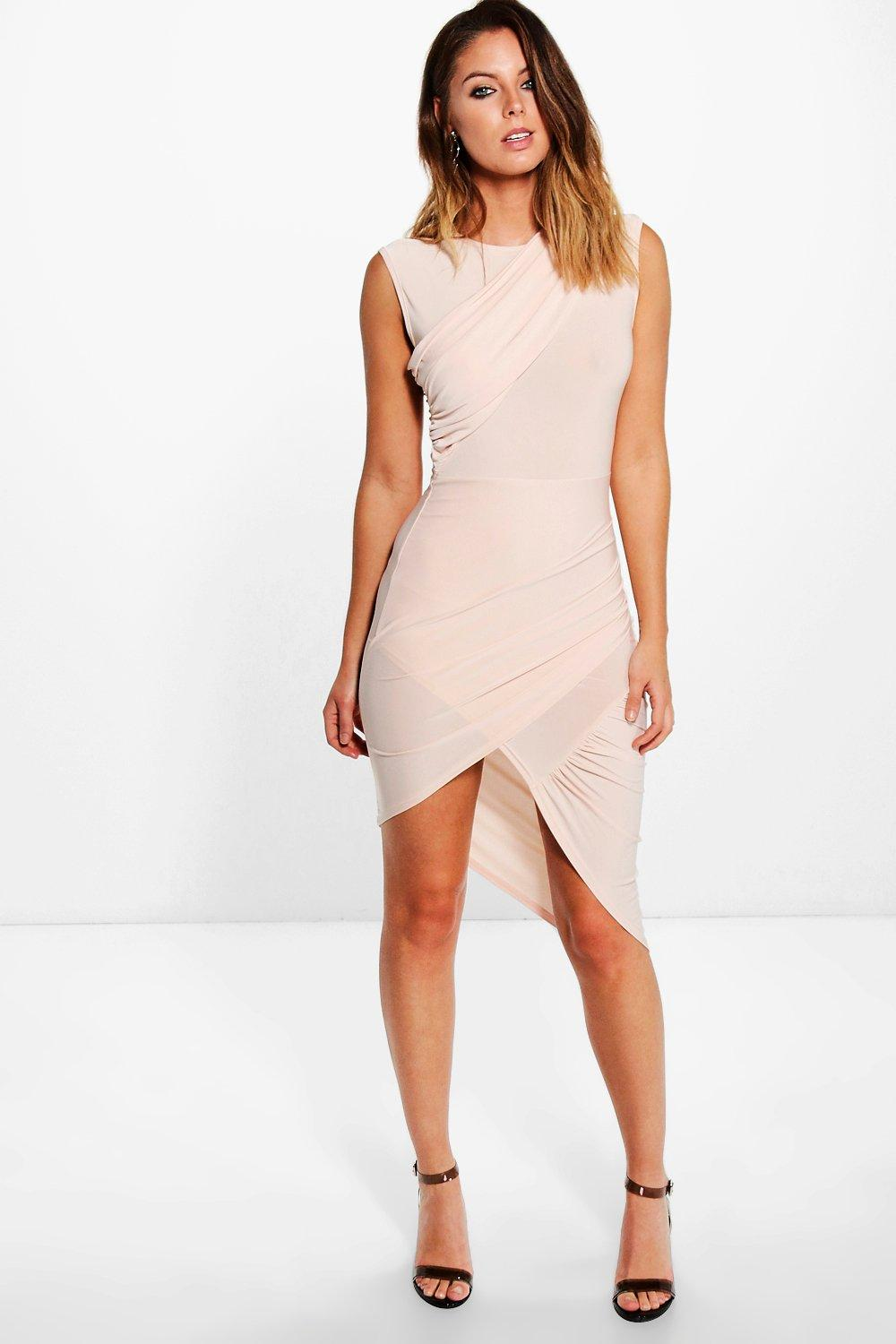Jemima Slinky Rouched Wrap Midi Dress