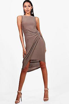Joyce Slinky Knot Detail Wrap Midi Dress