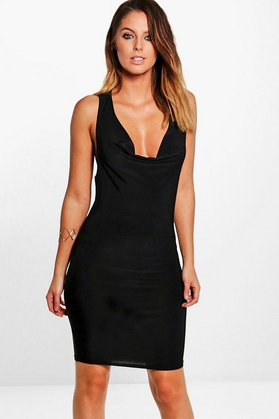 Izzy Slinky Cowl Neck Back Strap Bodycon Dress