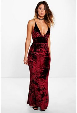 Barley Crushed Velvet Fish Tail Maxi Dress