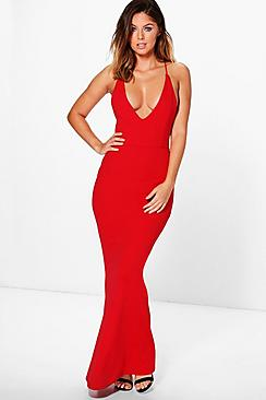 Amelia Cross Strap Fish Tail Maxi Dress