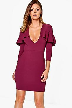 Lola Frill Detail Plunge Neck Bodycon Dress