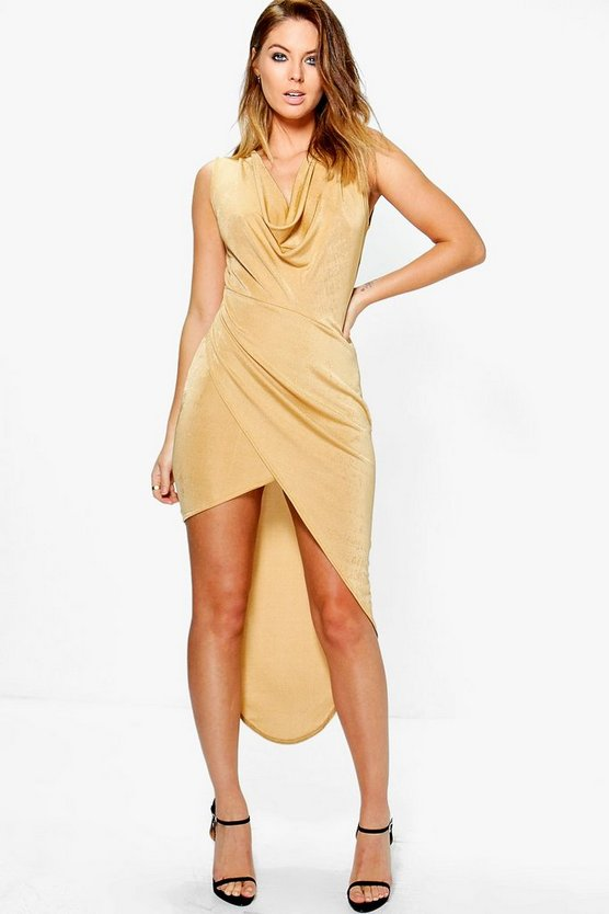 Kira Textured Slinky Cowl Drape Midaxi Dress