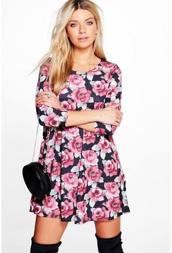 Lorraine Ladies 3/4 Sleeve Swing Dress