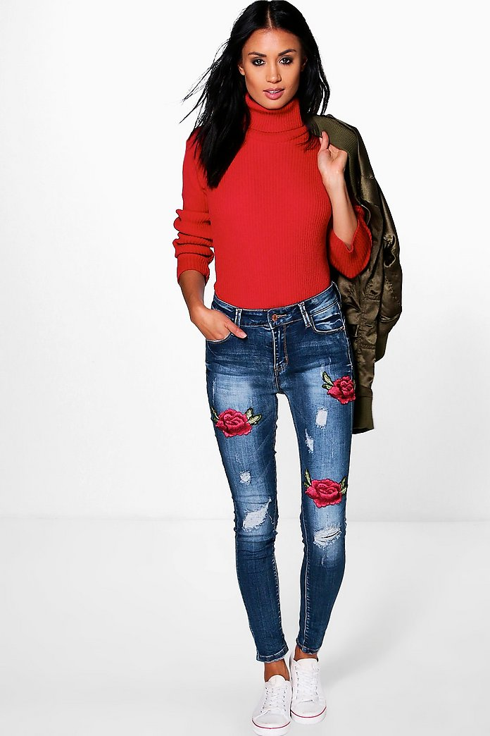 Rosy Mid Rise Floral Embroidery Skinny Jeans