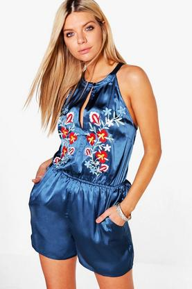 Maria Embroidered Satin Playsuit