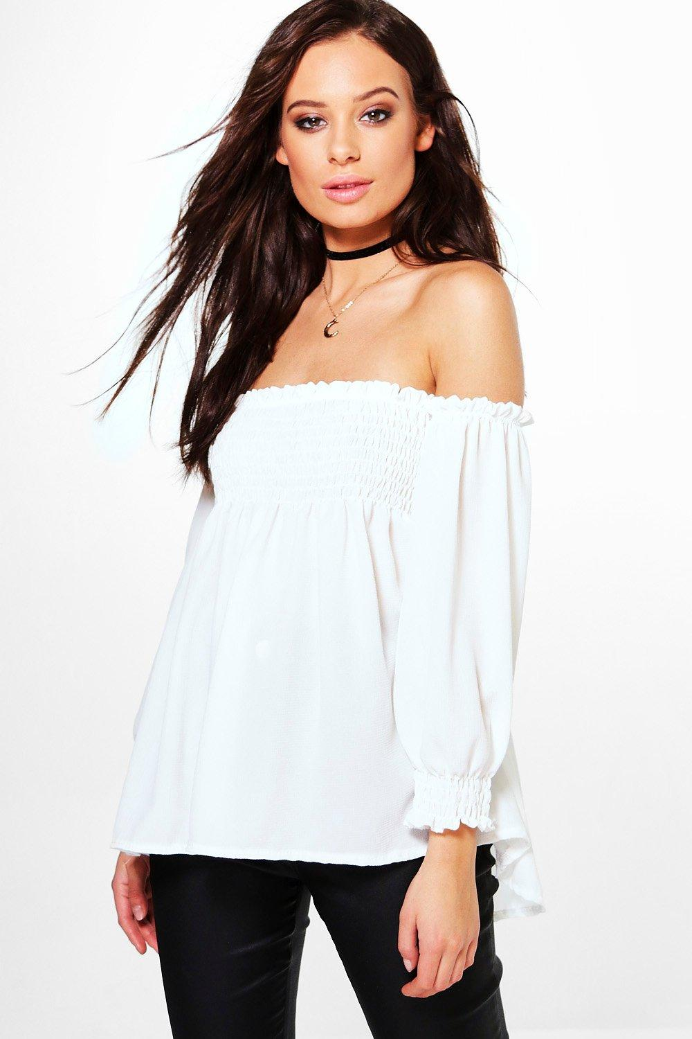 Hattie Shirred Bardot Woven Long Sleeve Top