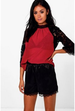 Keira Lace Flare Sleeve High Neck Top