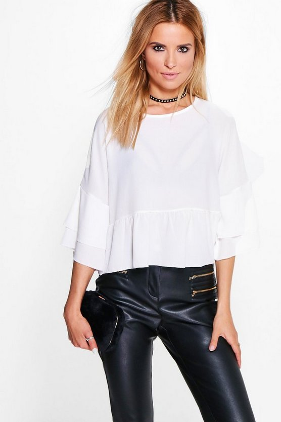 Martha Ruffle Sleeve And Hem Woven Top