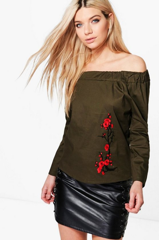Jasmine Long Sleeve Embroidered Woven Bardot