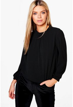 Aubrey High Neck Ruffle Long Sleeve Woven Top