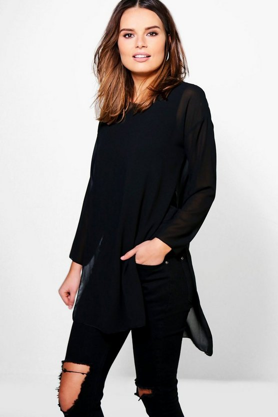 Bella Oversized Long Sleeve Double Layer Top
