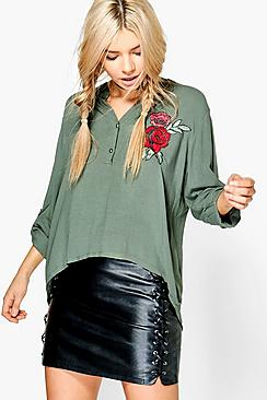 Nina Embroidered Curve Hem Woven Blouse