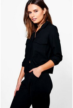 Connie Boxy Long Sleeve Utility Shirt