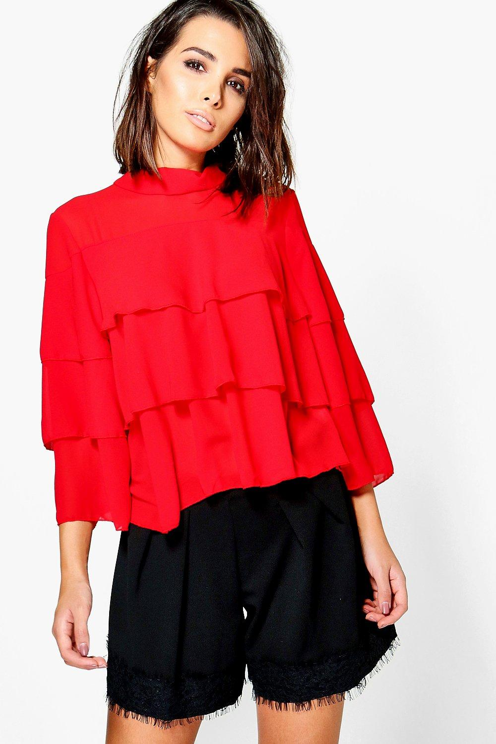 Nia High Neck Frill Sleeve Top