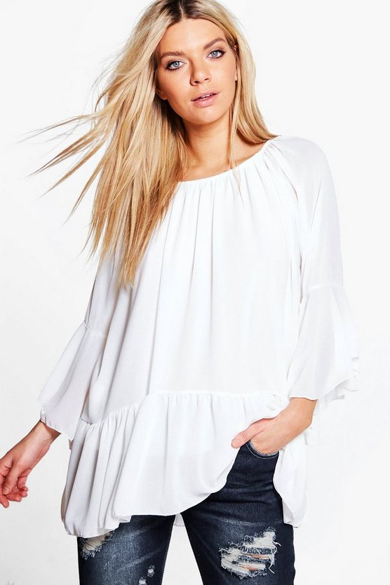 Clare Frill Sleeve Dropped Hem Tunic Top