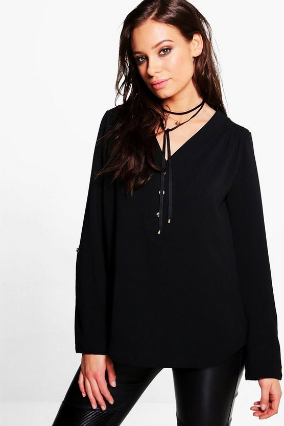 Hailey Button Front V Neck Top