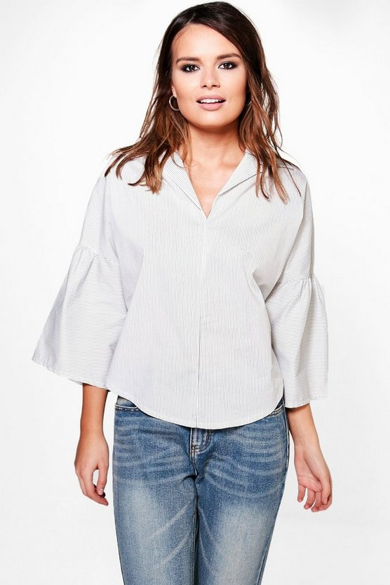 Ellie Woven Stripe Frill Sleeve Oversized Blouse