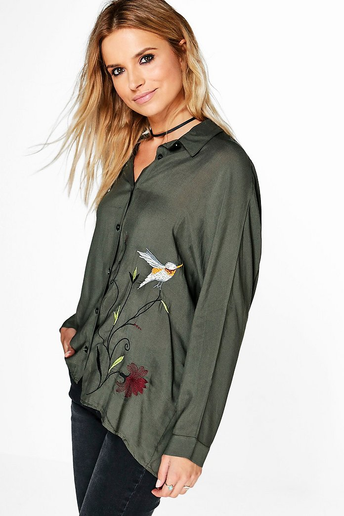Aria Embroidered Woven Oversized Shirt