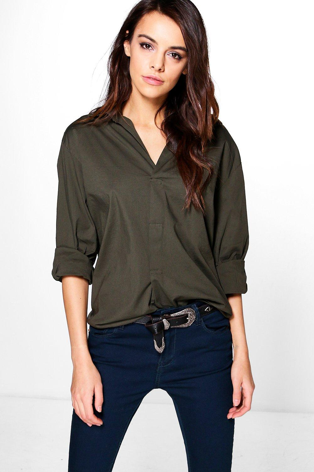 Sara Woven Military Style Oversized Shirt