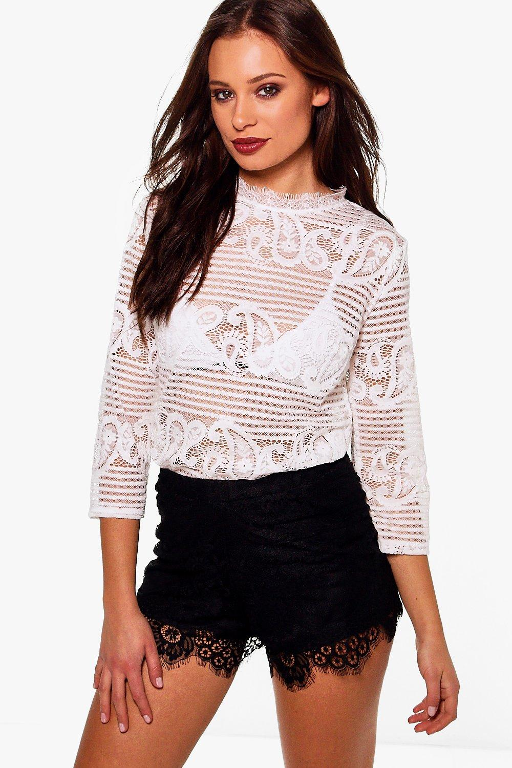 Farah Lace High Neck Blouse