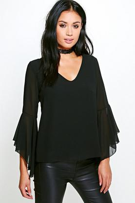 Hannah Flare Sleeve Drape Back Woven Top
