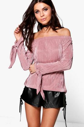 Piper Off The Shoulder Pleated Top