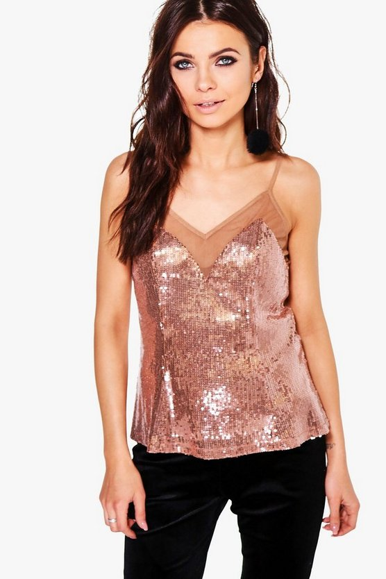 Laura Sequin Mesh Panel Cami