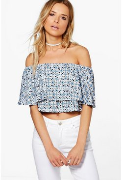 Printed Polly Off The Shoulder Top