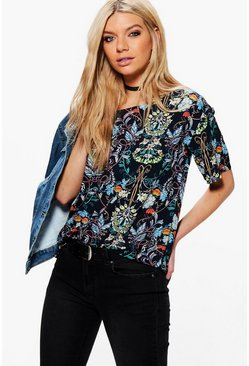 Faye Floral Crepe Shell Top