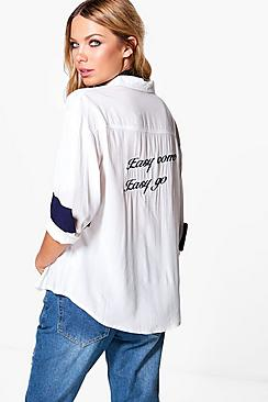 Emily Embroidered Back Slogan Blouse