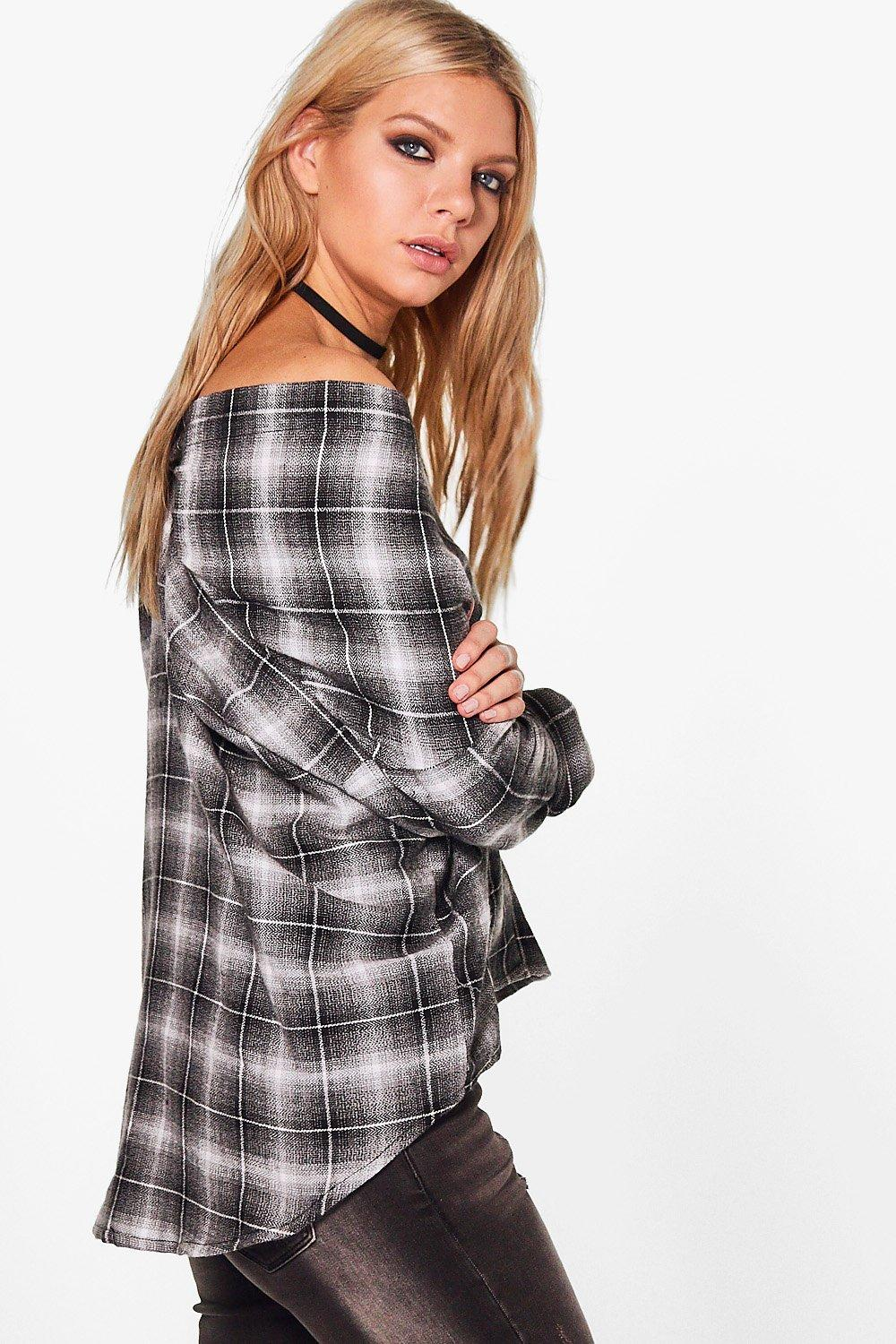 Boohoo-Rosie-Checked-Off-The-Shoulder-Shirt-per-Donna