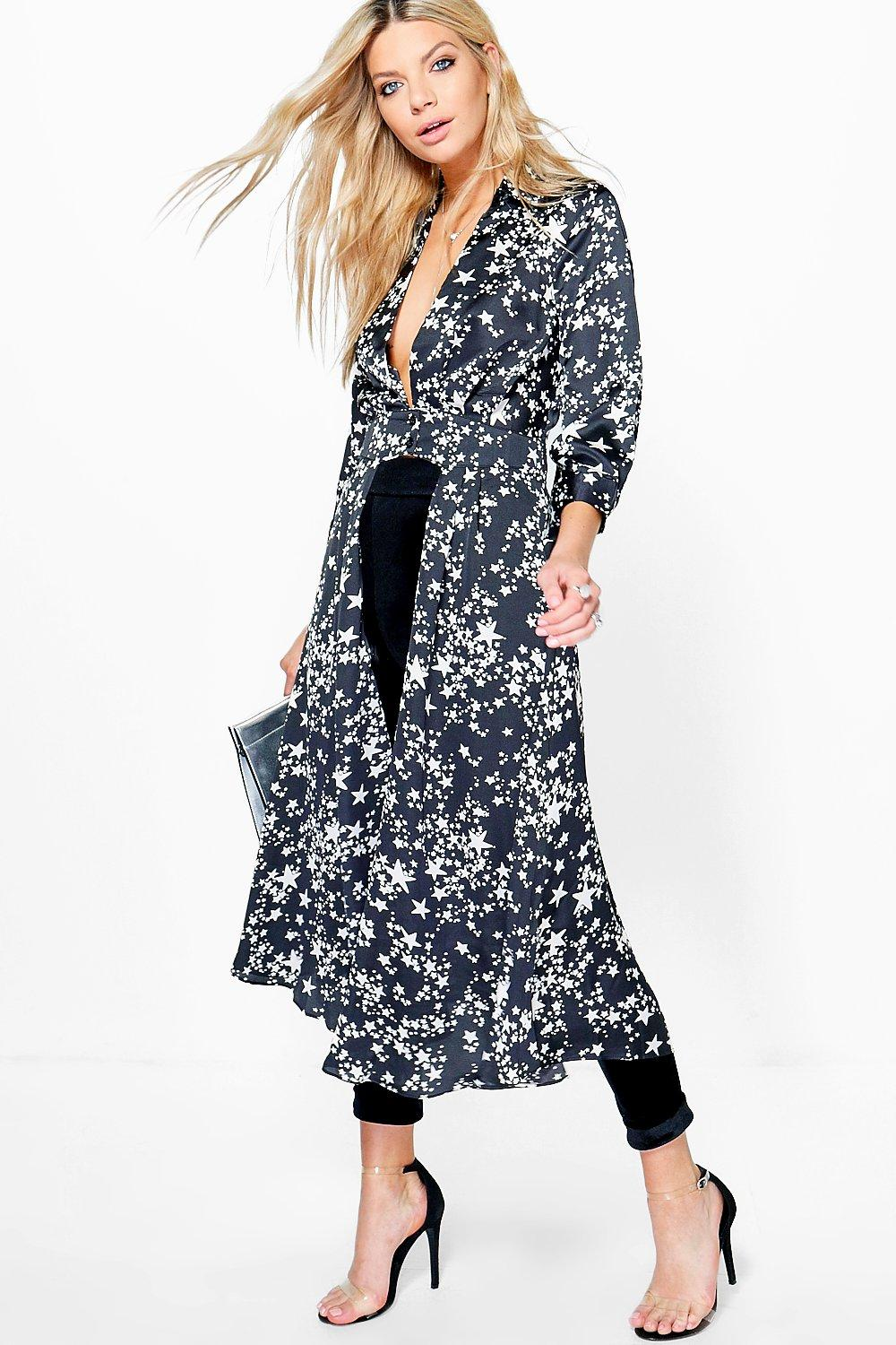 Shirley Star Print Plunge Neck Maxi Shirt