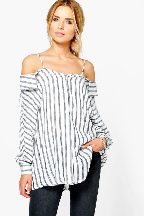 Emily Striped Open Shoulder Shirt
