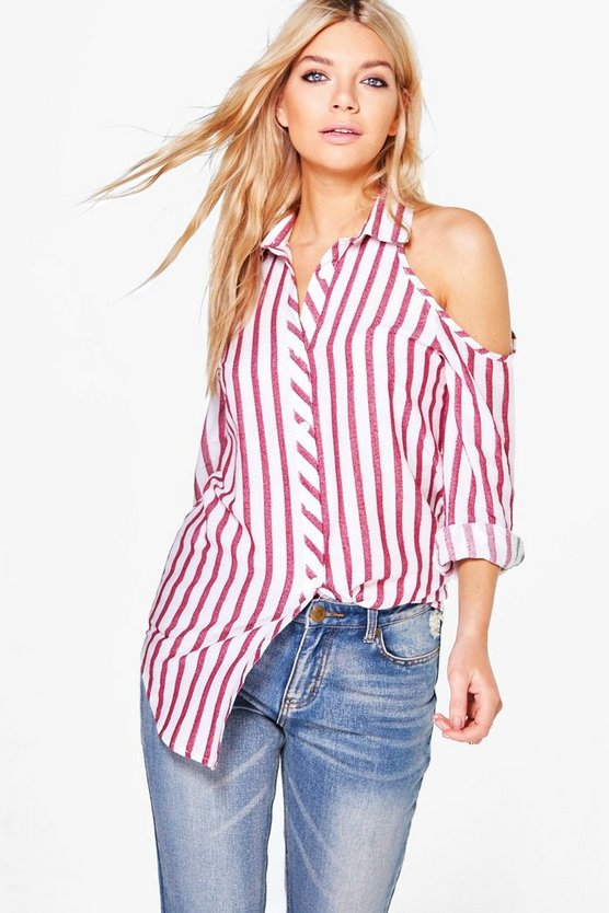 Lorna Cold Shoulder Striped Shirt