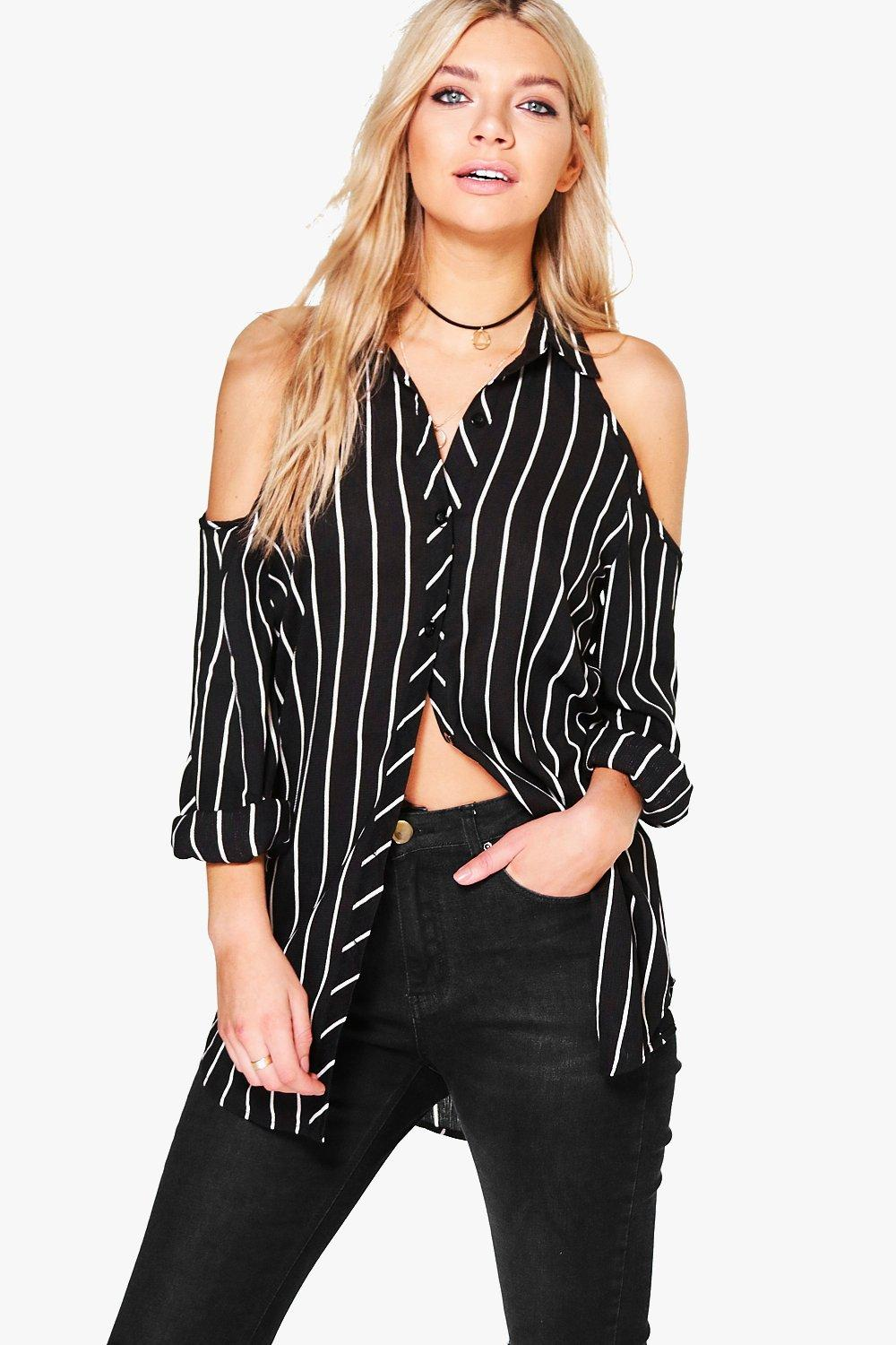 Summer Cold Shoulder Striped Shirt