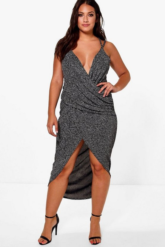 Jordyn Glitter Wrap Maxi Dress
