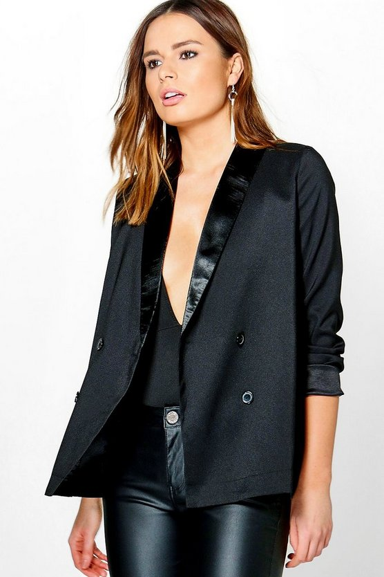 elizabeth boutique blazer con bavero in stile smoking di raso