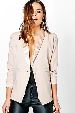 Elizabeth Boutique Satin Lapel Tux Blazer