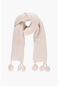 Rose Double Faux Fur Pom Rib Knit Scarf
