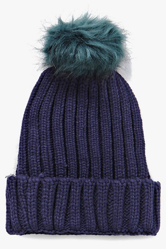 Lauren Faux Fur Pom Beanie Hat