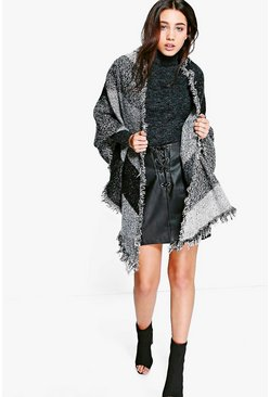 Lizzie Colourblock Fringed Edge Cape
