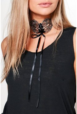 Jennifer Ribbon Lace Up Statement Choker