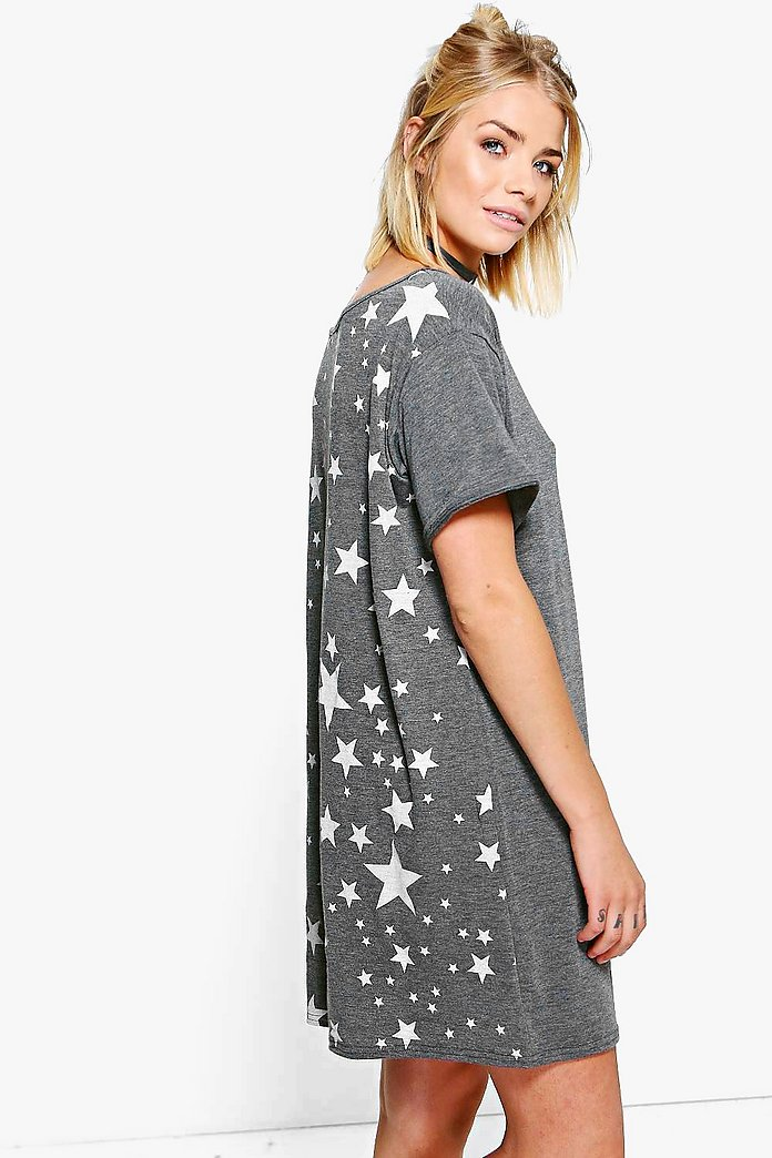Devon Star Back Print T-Shirt Dress